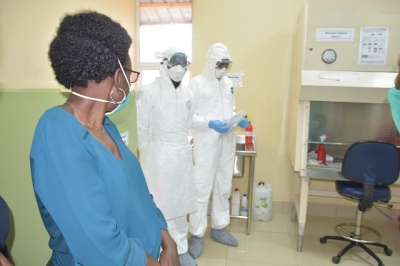 Dr Ruth Aceng visits one of the laboratories in eastern Uganda